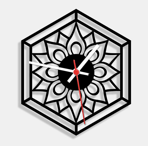 Wooden Laser Cut Black Wall Clock (004)