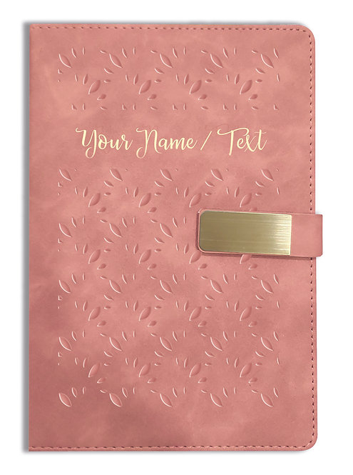 Personalized Hardbound VLVT FINISH NoteBook/Diary with MAGNETIC Lock-NB Brwn 003