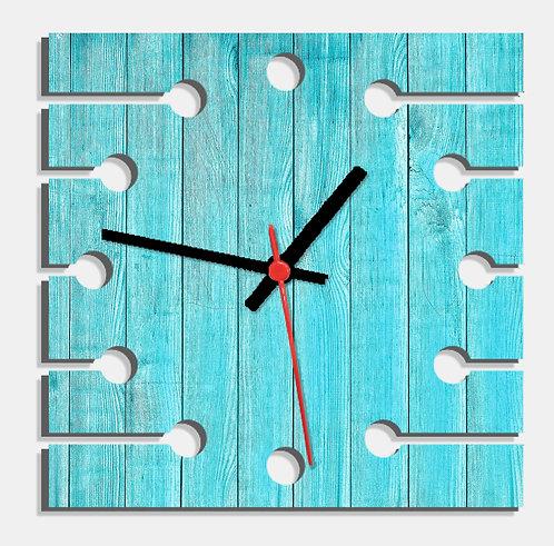 Wooden Laser Cut Blue Wood Finish Wall Clock (002)