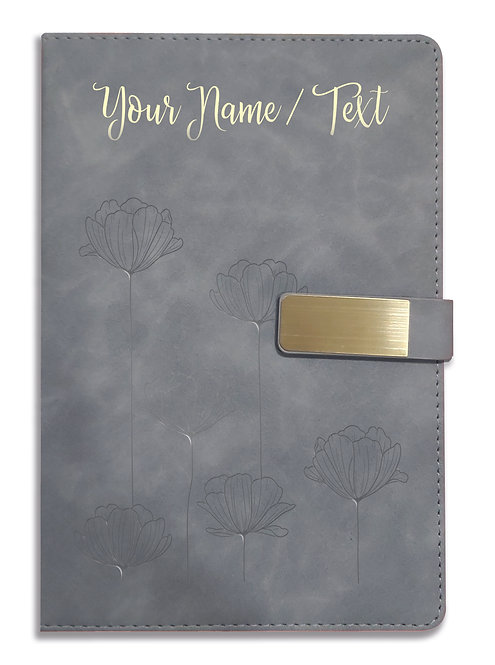Personalized Hardbound VLVT FINISH NoteBook/Diary with MAGNETIC Lock-NB Grey 011