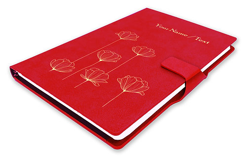 Personalized Hardbound NoteBook / Diary with MAGNETIC Lock (NB Red Mag 003)