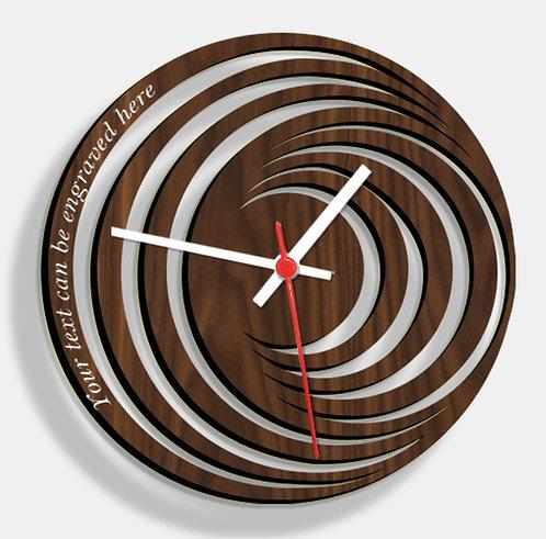 Wooden Laser Cut Walnut Wood Finish Wall Clock (001)