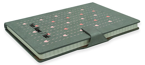 Personalized Hardbound NoteBook / Diary with MAGNETIC Lock (NB Gray Mag 001)