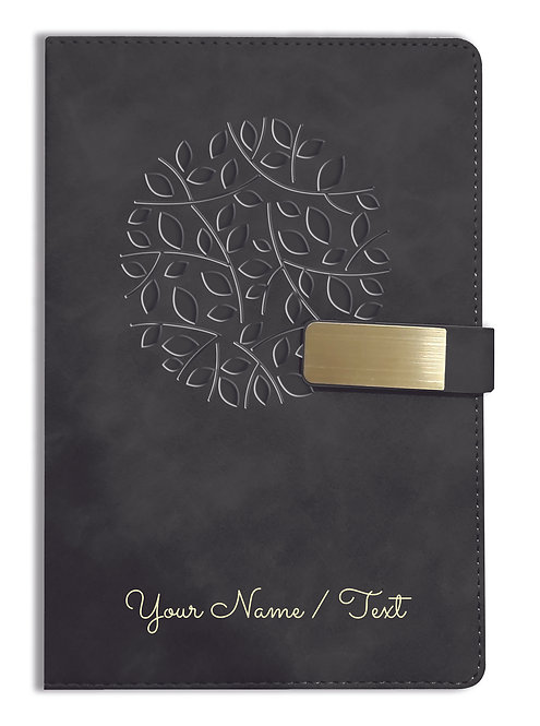 Personalized Hardbound VLVT FINISH NoteBook/Diary with MAGNETIC Lock-NB Blck 001