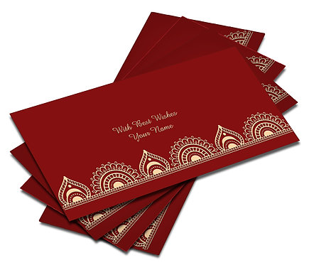 Shagun Envelope on Red Velvet paper(Pack of 10) SEVLVT 009