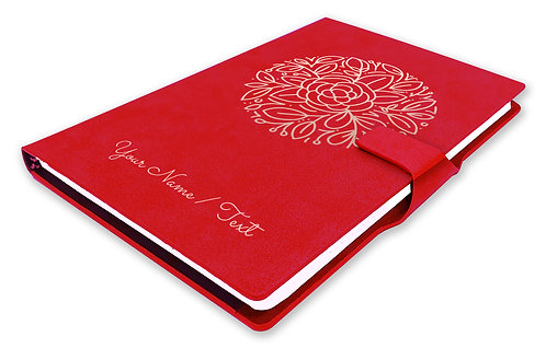 Personalized Hardbound NoteBook / Diary with MAGNETIC Lock (NB Red Mag 005)