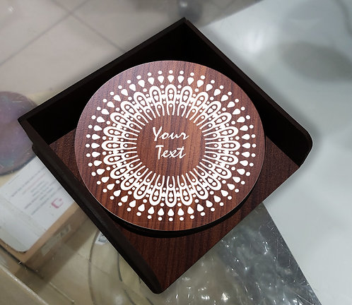 Personalized MDF Wooden Coasters (set of 4 with case)