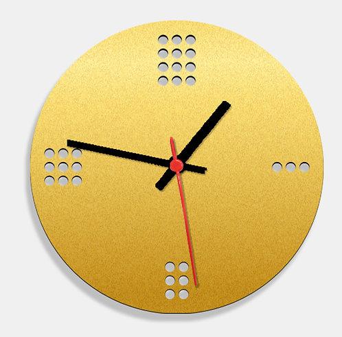Wooden Laser Cut Golden Wall Clock (010)