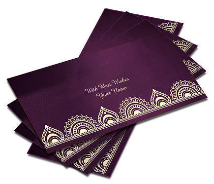 Shagun Envelope on Purple Satin paper(Pack of 10) SESATIN PURPLE 007