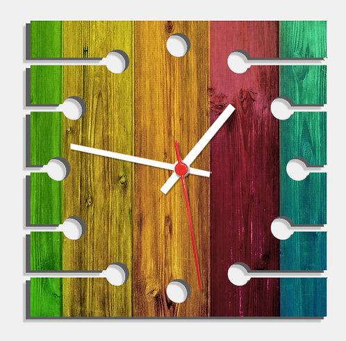 Wooden Laser Cut Multi Colour Wood Finish Wall Clock (002)