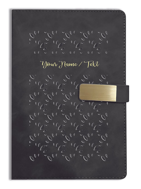 Personalized Hardbound VLVT FINISH NoteBook/Diary with MAGNETIC Lock-NB Blck 003