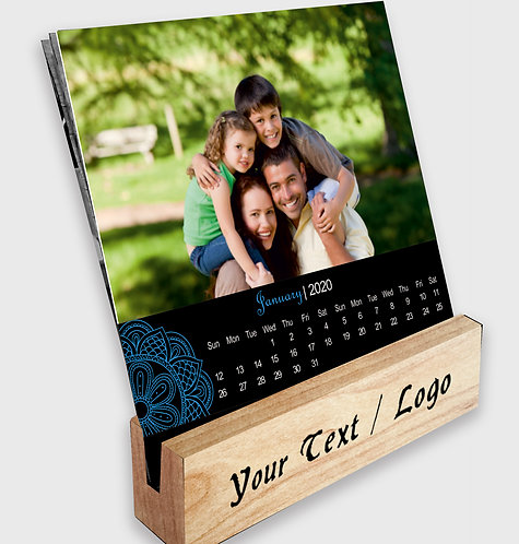 Personalized Table Calendar on Wooden Block Stand (DCal Wood 02)