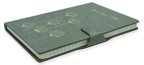 Personalized Hardbound NoteBook / Diary with MAGNETIC Lock (NB Gray Mag 003)
