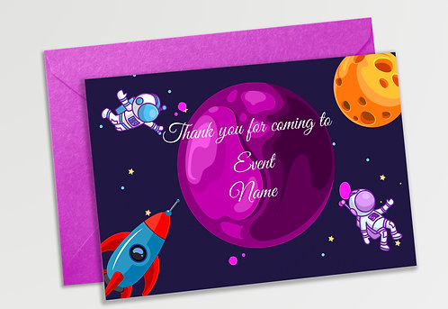 Customized Space Theme Thank You Cards (PS TCard 06)