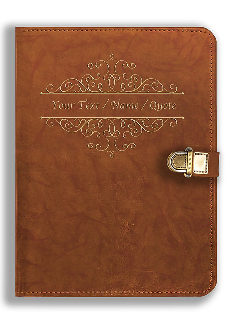 Personalized Leather NoteBook / Diary with Metal Lock (NBLOCK 019)