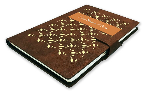 Personalized Hardbound NoteBook/Diary with MAGNETIC Lock (NB Dark Brown Mag 001)