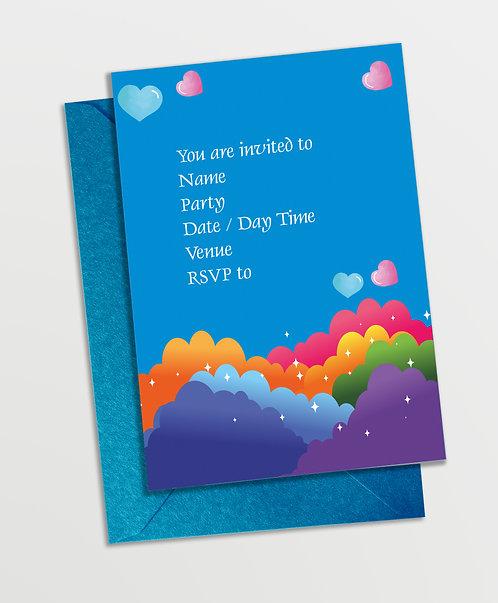 Customized Rainbow Theme Invitation Cards (PS InvCard 05)