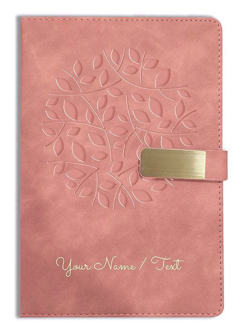 Personalized Hardbound VLVT FINISH NoteBook/Diary with MAGNETIC Lock-NB Brwn 001