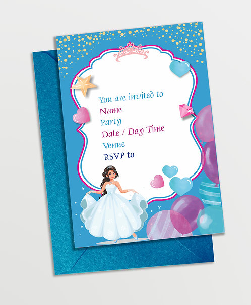 Customized Princess Theme Invitation Cards (PS InvCard 04)
