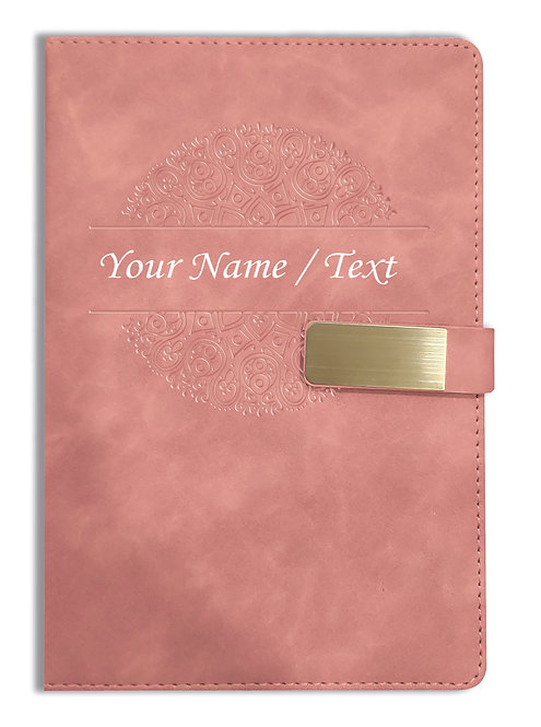 Personalized Hardbound VLVT FINISH NoteBook/Diary with MAGNETIC Lock-NB Brwn 010