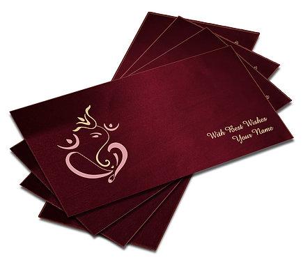 Shagun Envelope on Maroon Satin paper(Pack of 10) SESATIN 004