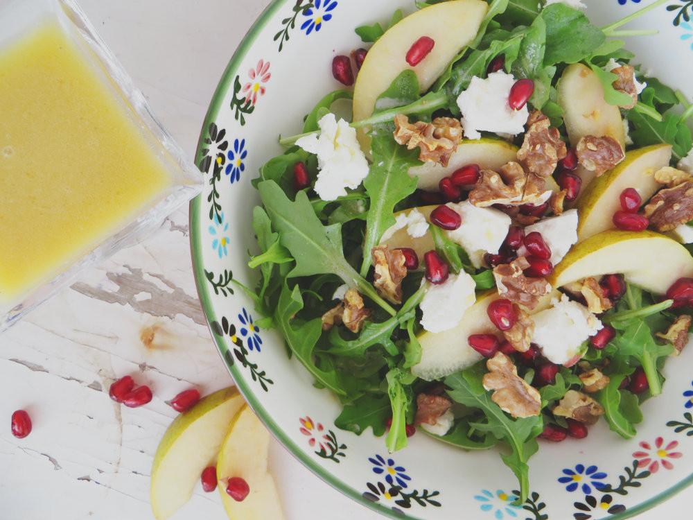 Salade de roquette et vinaigrette de chèvre et kombucha - Les chants du fleuve - Recette