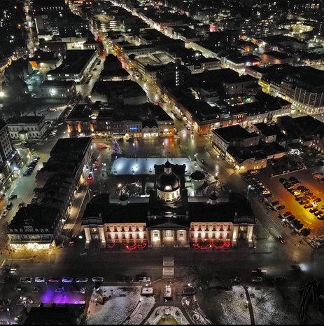 Kingston City Hall at night