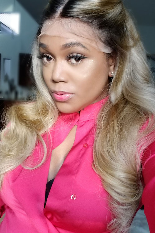 Dark Root Golden Blonde & Platinum Lace Frontal Unit 20""
