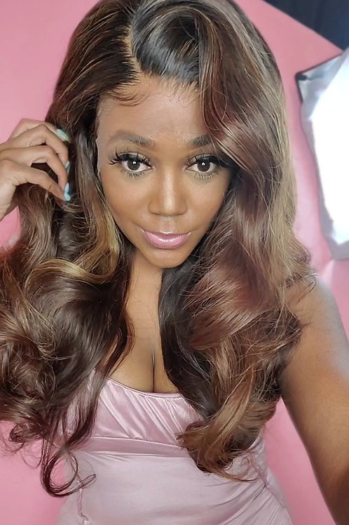 The Honey Blonde and Golden Brown Wavy HD Lace Frontal Unit 24""