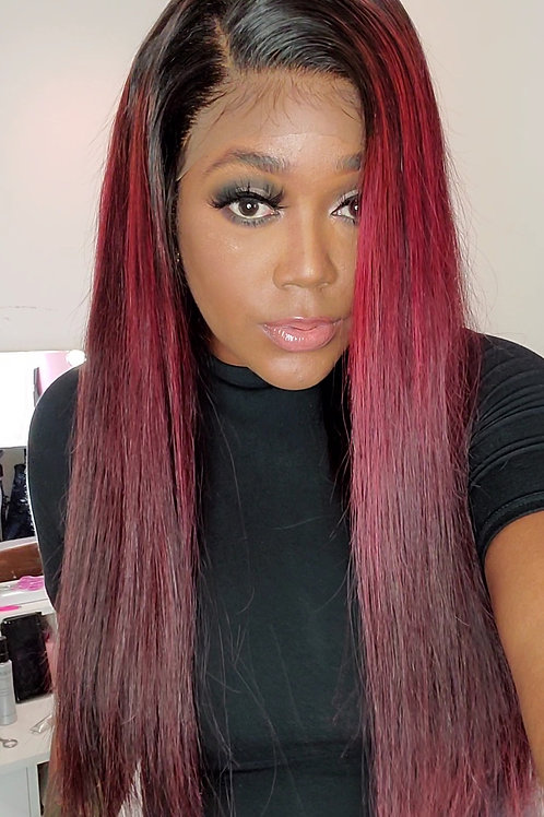 The Deep Red Straight Lace Frontal Unit 26""