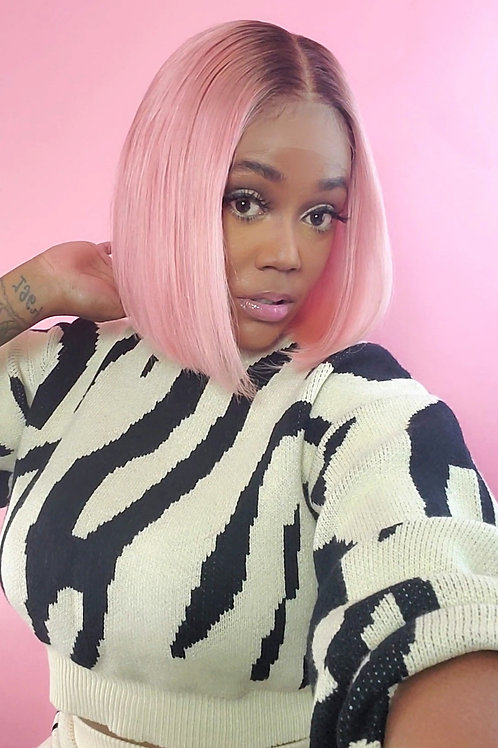 """The Dark Root Pastel Lace Frontal Blunt Bob 10"""""""