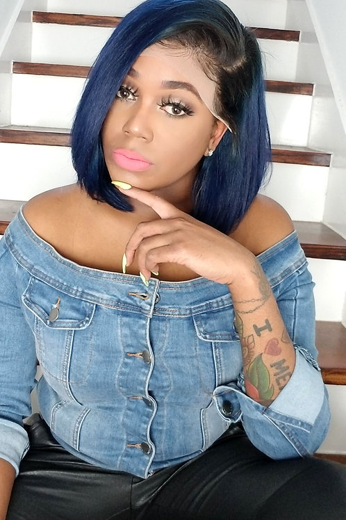 The Dark Root Deep Blue Lace Frontal Bob