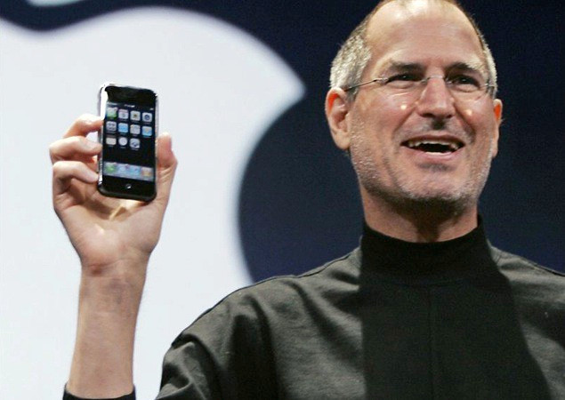 Steve Jobs Holding the First iPhone