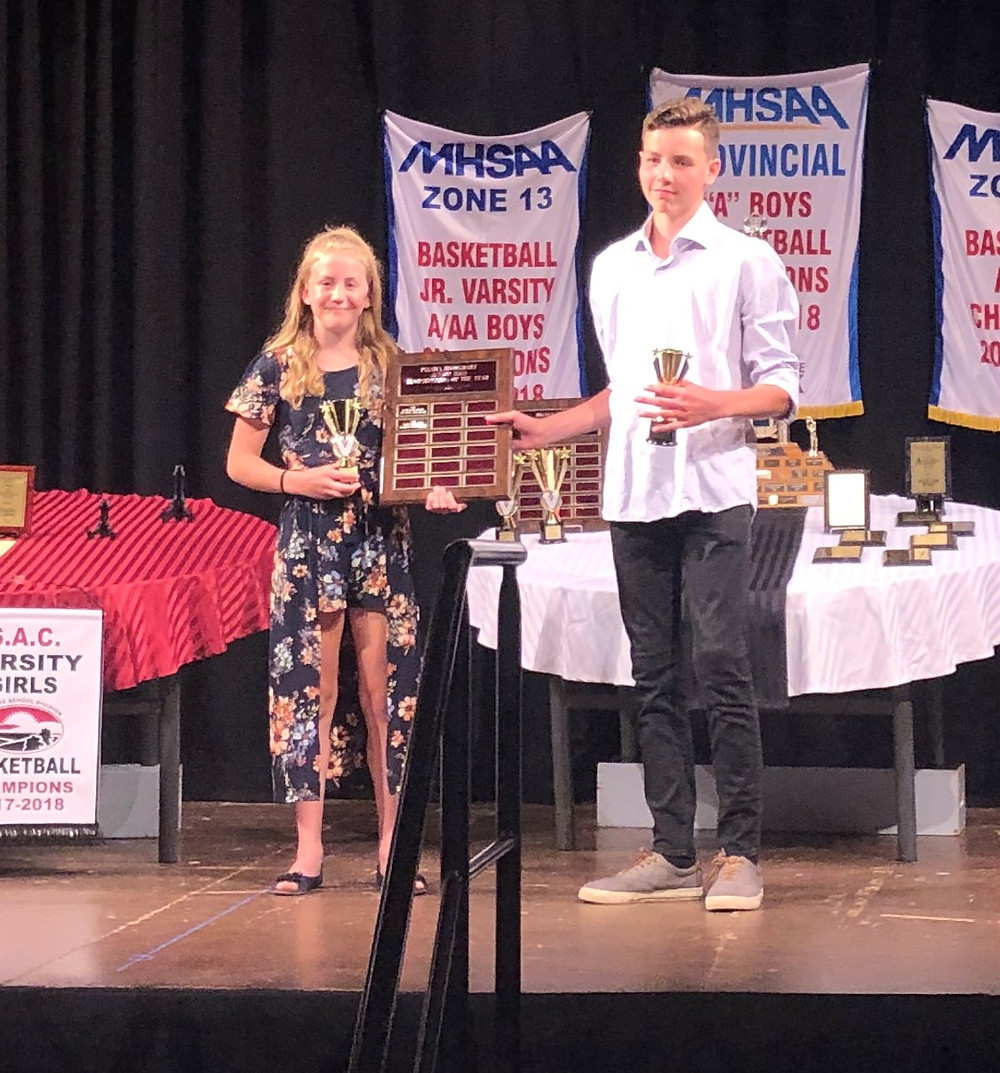 Male and Female Junior High Sportspersons of the Year Jaida and Lochlan