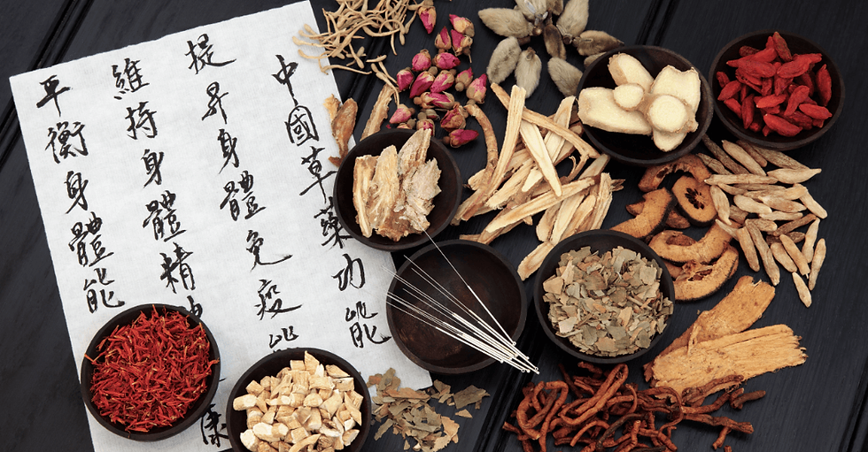 Image of herbal medicine and acupuncture needles