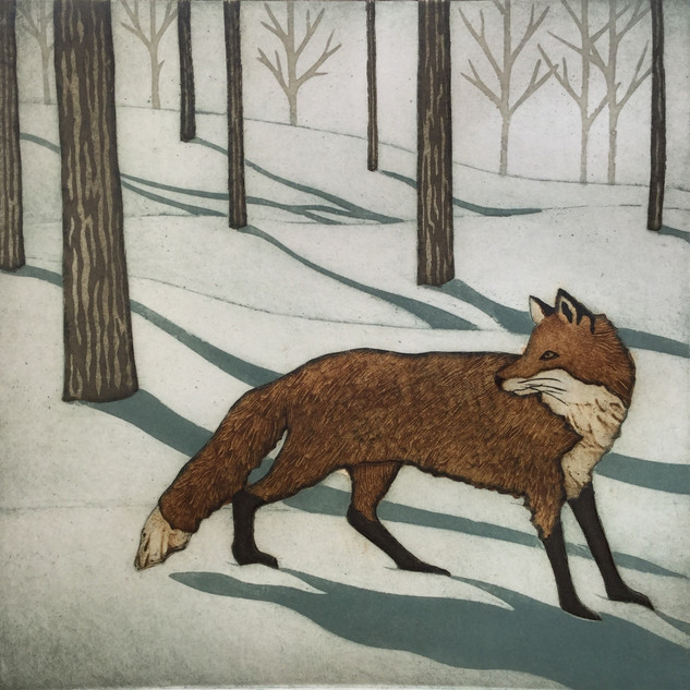Kathleen Buchanan, Rockport, Maine - Forest Fox, collagraph on paper