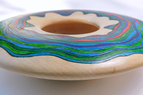 Painted maple bowl by Gary Hawley