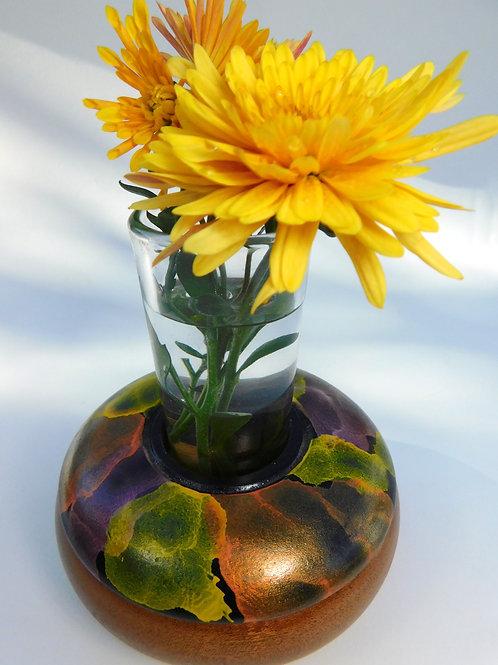Iridescent bud vase by Gary Hawley