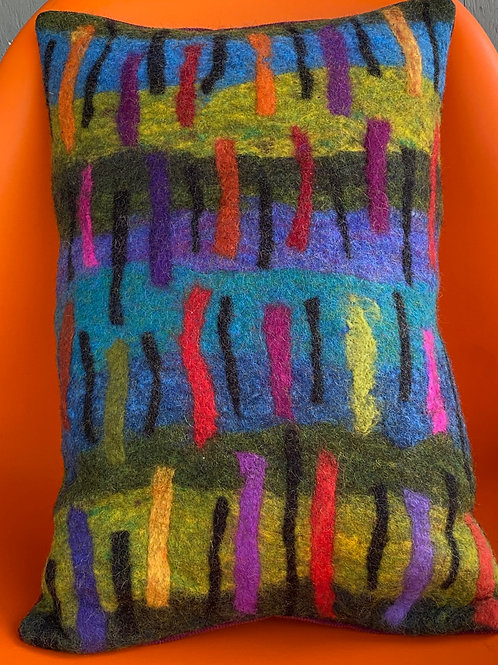 Greens and Blues Pillow w/red, orange, black strips by Cogswool