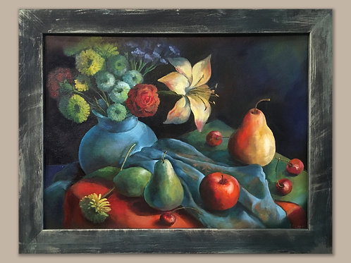 Fruit and Flower Fantasy in Turquoise Colors by Anastasia Semash Art Studio