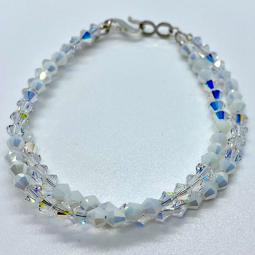 2 Strand White & Clear Glass Bracelet by Beads by Beardslee