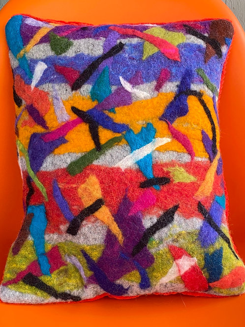 Triangles and Strips Pillow by Cogswool