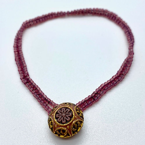 Burgundy Herringbone Bracelet by Beads by Beardslee