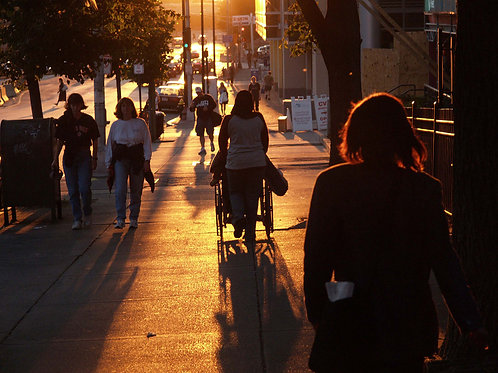 Walkers in Golden Light on Charles Street by Roy Crystal, Photographer