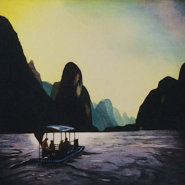 Mary Teichman, Easthampton - On the Li River, multi-plate color etching