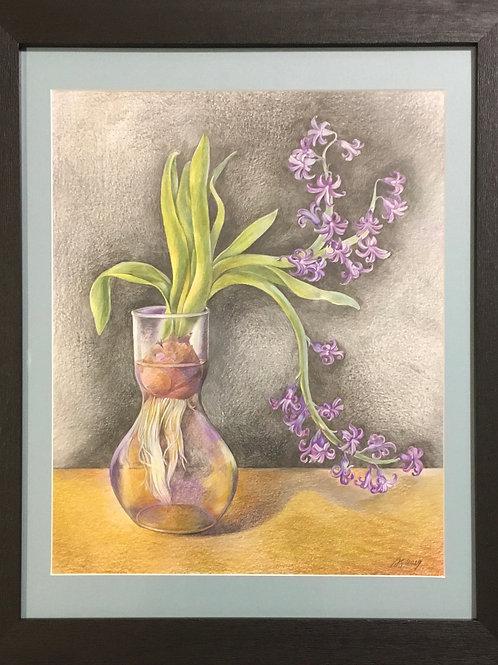 Hyacinth in a Glass Vase by Anastasia Semash Art Studio