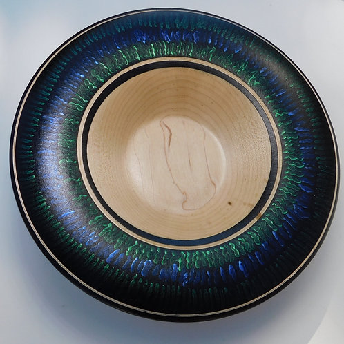 Maple bowl with iridescent rim by Gary Hawley