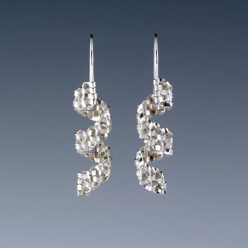 Woven Silver Spiral Earrings, short by Sharon Stafford Metals