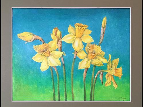Spring Melody (Daffodils) by Anastasia Semash Art Studio