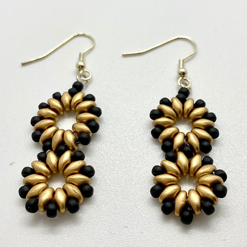 Gold & Black Duo-Go Round Earrings by Beads by Beardslee